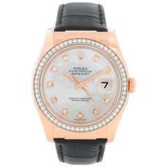 Rolex 18 Karat Rose Gold Datejust Mother of Pearl Watch 116185