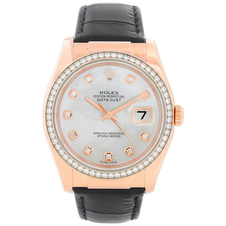 Rolex 18 Karat Rose Gold Datejust Mother of Pearl Watch 116185 For Sale