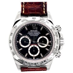 Rolex 18 Karat White Gold Cosmograph Daytona with Black Dial and Alligator Strap