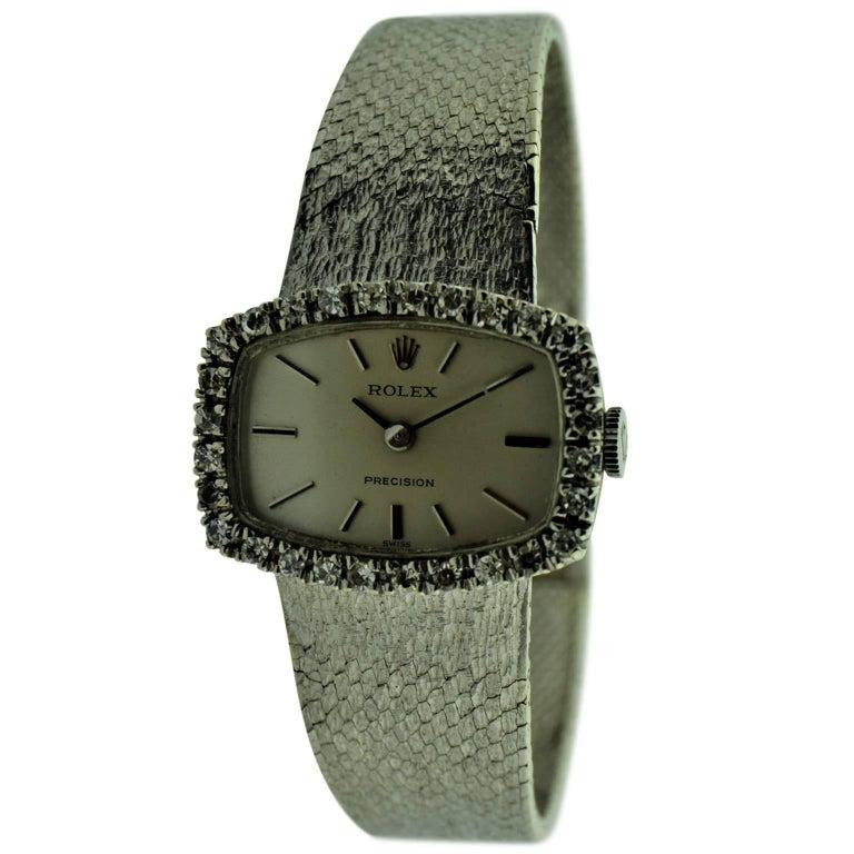 rolex 18 karat white gold dress watch with diamond bezel. Black Bedroom Furniture Sets. Home Design Ideas