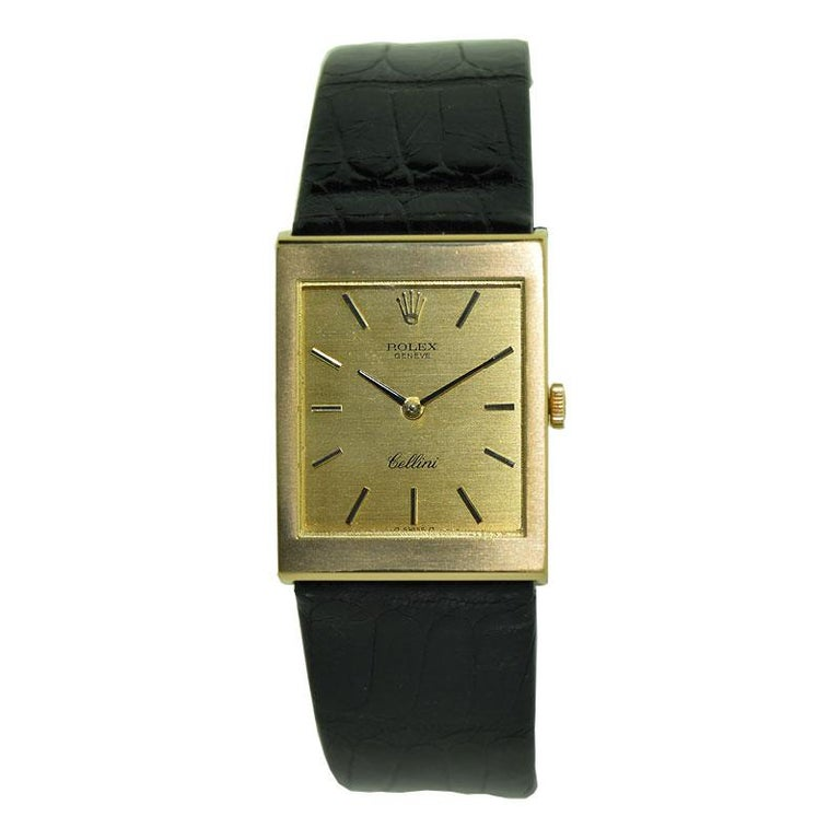 FACTORY / HOUSE: Rolex Watch Company  STYLE / REFERENCE: Cellini / 4014 / 2109 METAL / MATERIAL: 18kt CIRCA: 1974 / 1975  DIMENSIONS: 30mm X 23mm MOVEMENT / CALIBER: Manual Winding / 19 Jewels / Cal. 1600 DIAL / HANDS: Original Champagne with Baton
