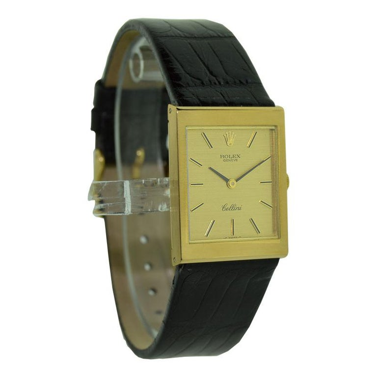 Rolex 18 Karat Yellow Gold Cellini Dress Watch New Old Stock, circa 1974 In Excellent Condition For Sale In Venice, CA