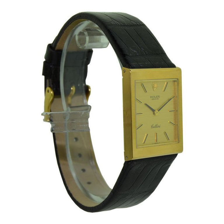 Women's or Men's Rolex 18 Karat Yellow Gold Cellini Dress Watch New Old Stock, circa 1974 For Sale