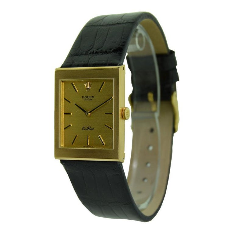 Rolex 18 Karat Yellow Gold Cellini Dress Watch New Old Stock, circa 1974 For Sale 1