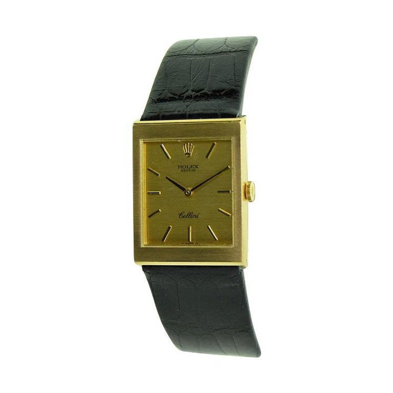 Rolex 18 Karat Yellow Gold Cellini Dress Watch New Old Stock, circa 1974 For Sale