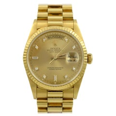 Rolex 18 Karat Yellow Gold Day Date Model 18238 with Original Box and Paper