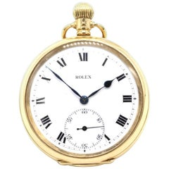 Rolex 18 Karat Yellow Gold Gentleman's Open Faced Keyless Pocket Watch