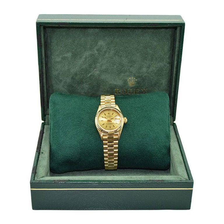 Rolex 18 Karat Yellow Gold Ladies President Series For Sale 3