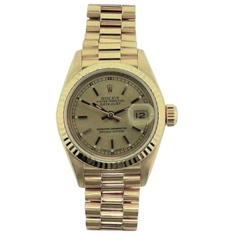 Rolex 18 Karat Yellow Gold Ladies President Series For Sale