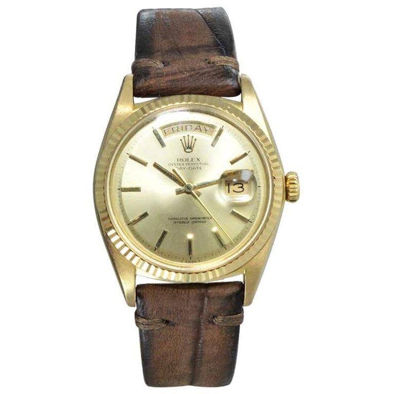 Rolex 18 Karat Yellow Gold Oyster Perpetual Day Date Ref 1803 Dated 1969 For Sale