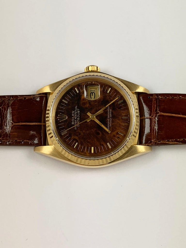 rolex 18 karat yellow gold wood dial datejust watch 1980s. Black Bedroom Furniture Sets. Home Design Ideas