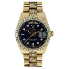 Rolex 18038 18 Karat Yellow Gold Single Quick Day-Date President Automatic Watch