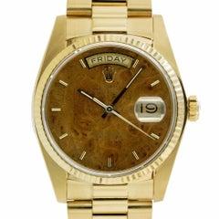 Rolex 18038 Burl Wood Dial Day Date President 18 Karat Yellow Gold Swiss Watch