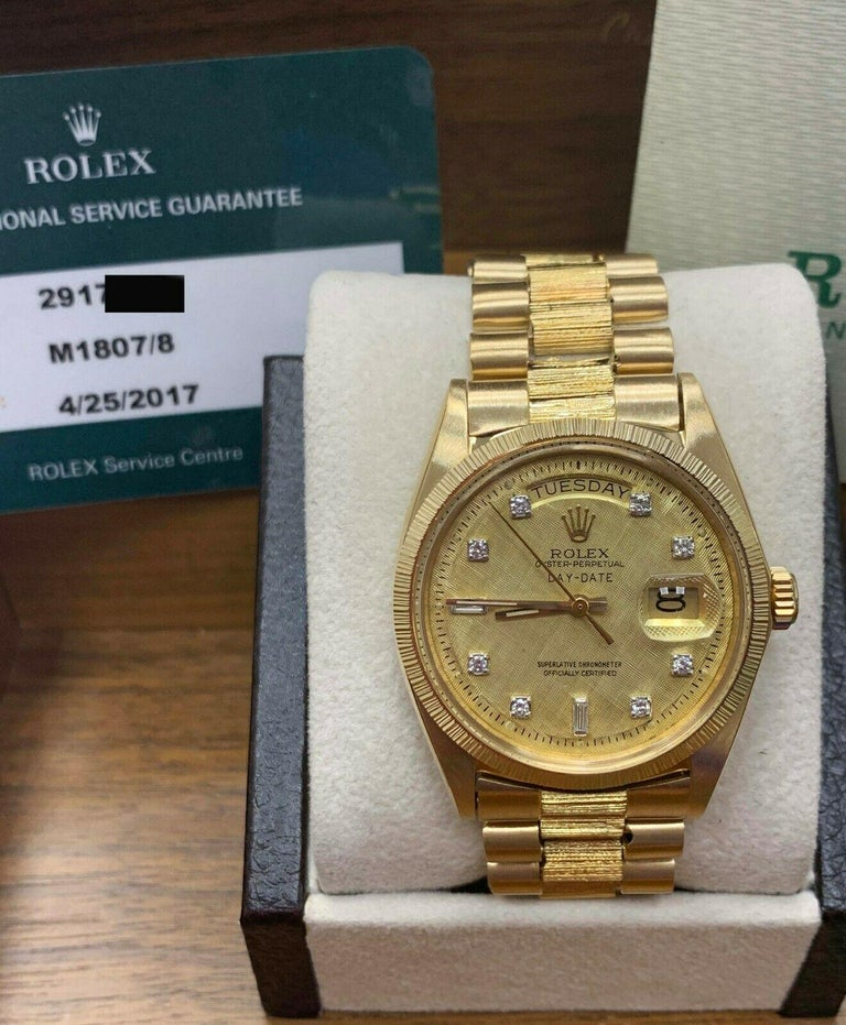 Rolex 1807 President Day Date Original Diamond Dial 18 Karat Yellow Gold For Sale 1