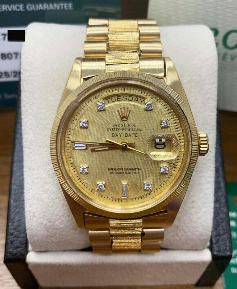 Rolex 1807 President Day Date Original Diamond Dial 18 Karat Yellow Gold For Sale 2