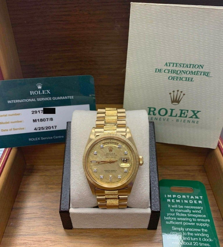 Rolex 1807 President Day Date Original Diamond Dial 18 Karat Yellow Gold For Sale 3