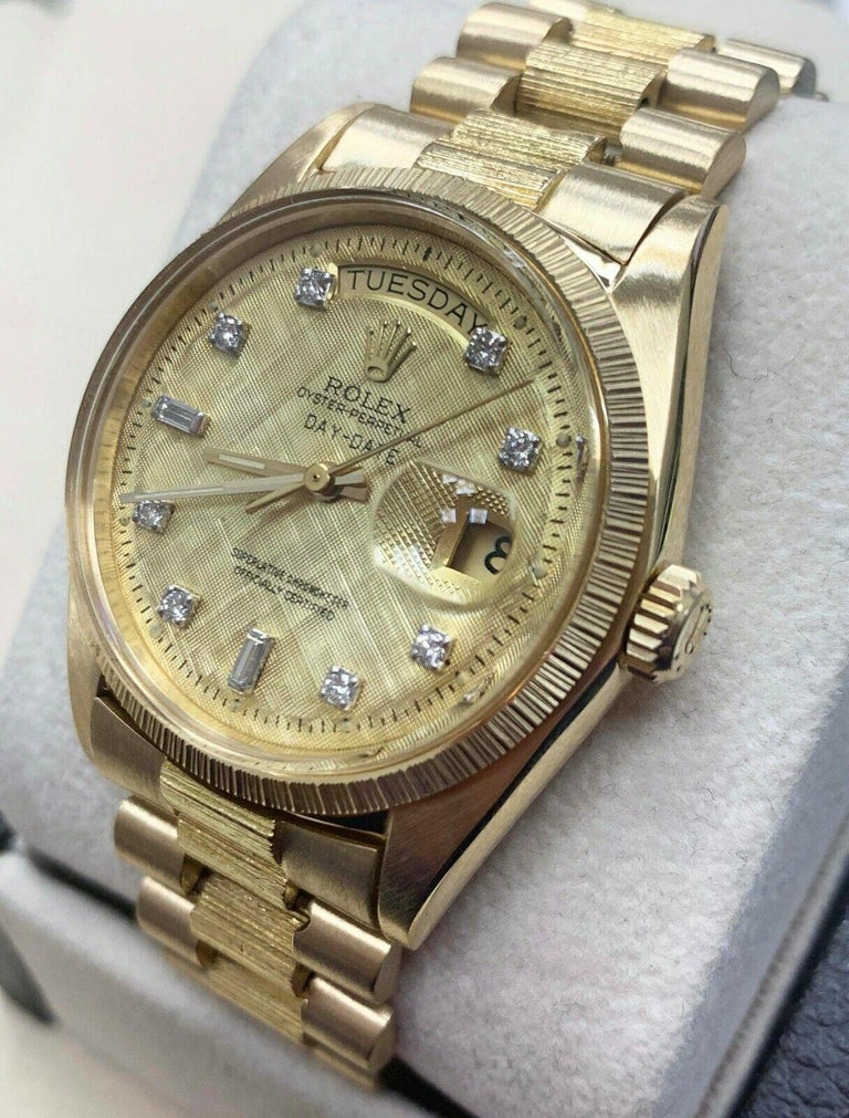 Rolex 1807 President Day Date Original Diamond Dial 18 Karat Yellow Gold For Sale 4
