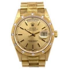 Rolex 18108 18 Karat Yellow Gold Day Date with Factory Diamond Bezel Watch