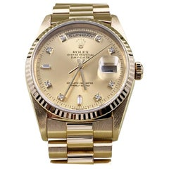 Rolex 18238 Day Date President Diamond Dial 18 Karat Yellow Gold Box Papers