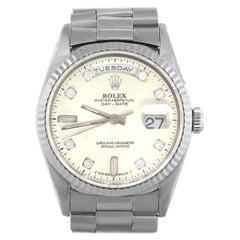 Rolex 18239 Day-Date 18 Karat White Gold Diamond Dial Watch