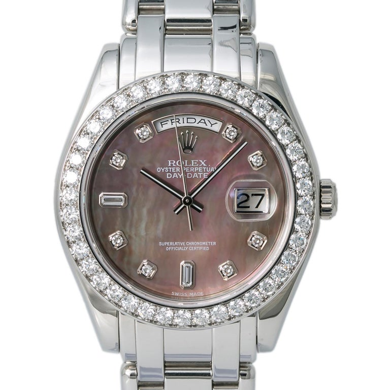 Contemporary Rolex 18946 Day-Date Platinum Masterpiece Tahitian MOP Mens Automatic Watch 39mm For Sale