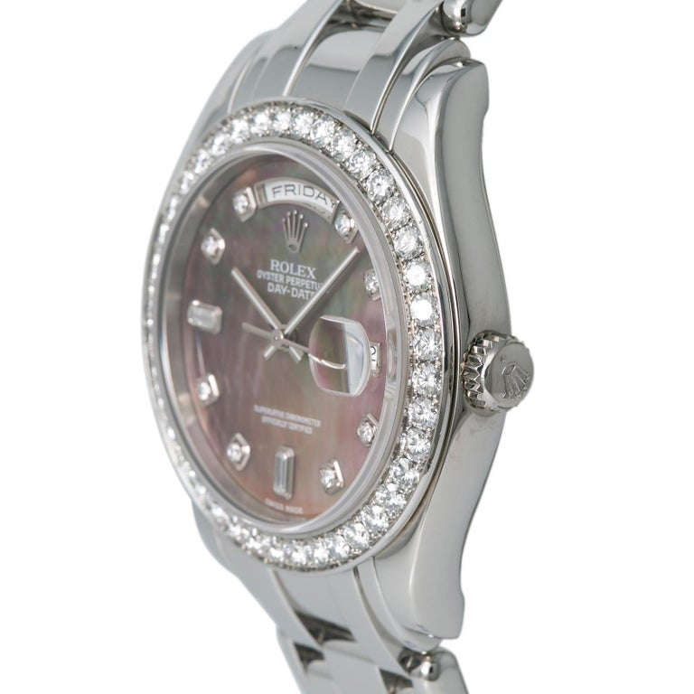 Rolex 18946 Day-Date Platinum Masterpiece Tahitian MOP Mens Automatic Watch 39mm In Good Condition For Sale In Miami, FL