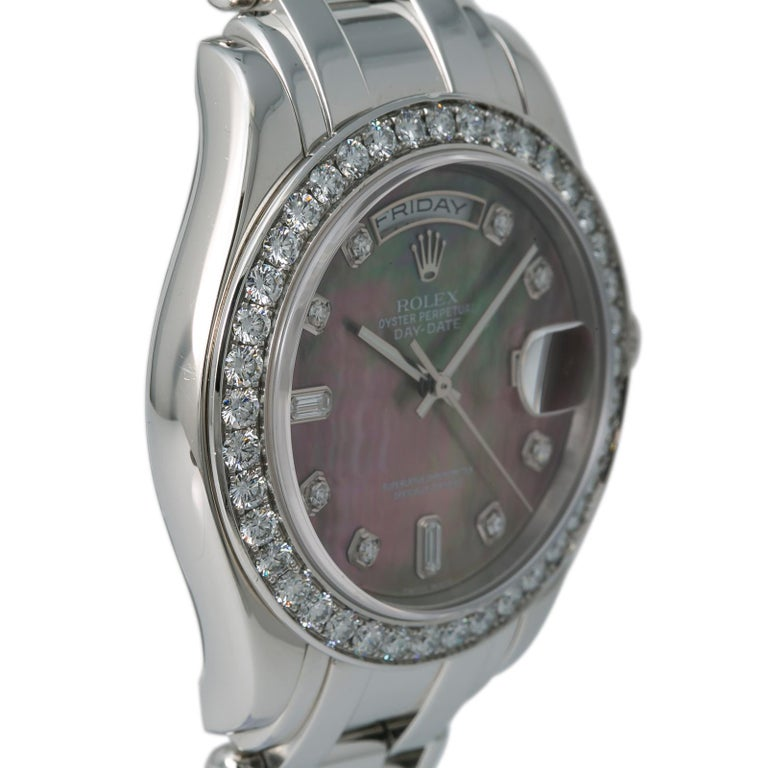 Men's Rolex 18946 Day-Date Platinum Masterpiece Tahitian MOP Mens Automatic Watch 39mm For Sale