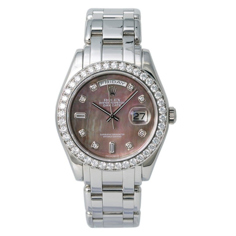 Rolex 18946 Day-Date Platinum Masterpiece Tahitian MOP Mens Automatic Watch 39mm For Sale