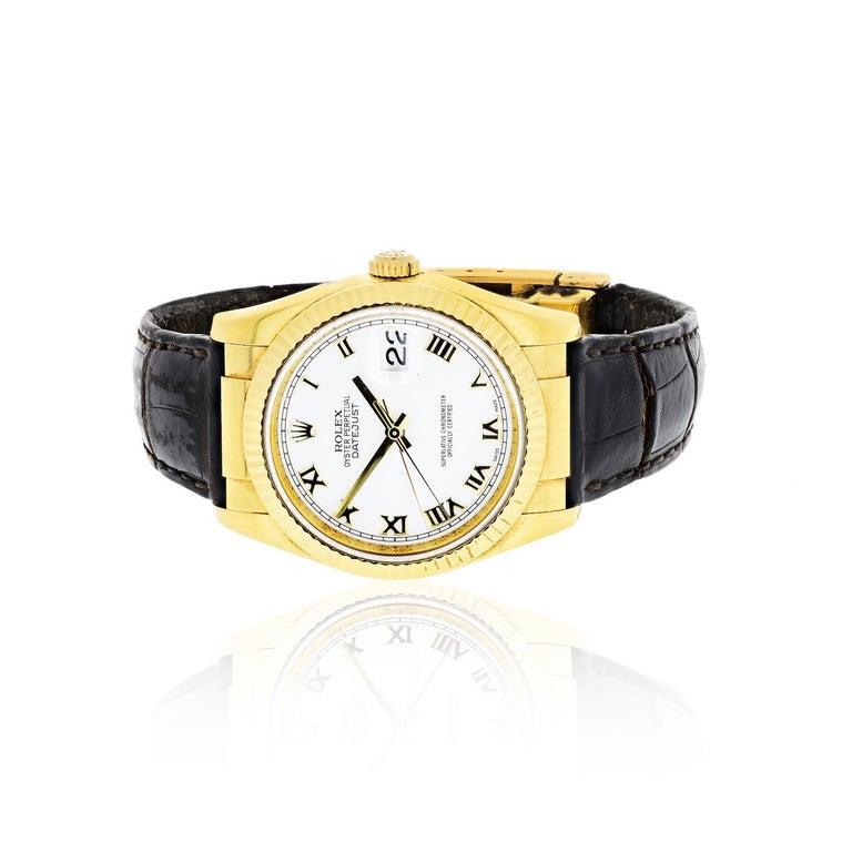 Rolex 18 Karat Gold Roman Datejust 116138 Watch For Sale 1