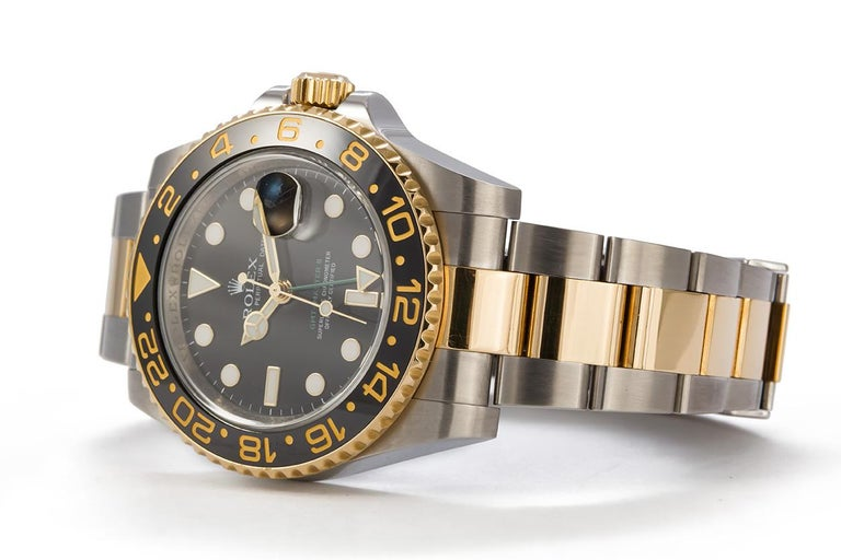 Contemporary Rolex 18 Karat Gold and Stainless Steel Ceramic GMT Master II 116710 For Sale