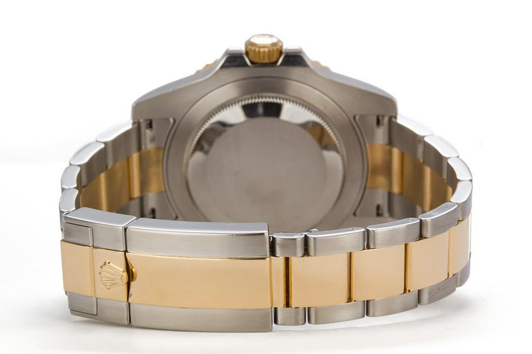 Rolex 18 Karat Gold and Stainless Steel Ceramic GMT Master II 116710 In Excellent Condition For Sale In Tustin, CA