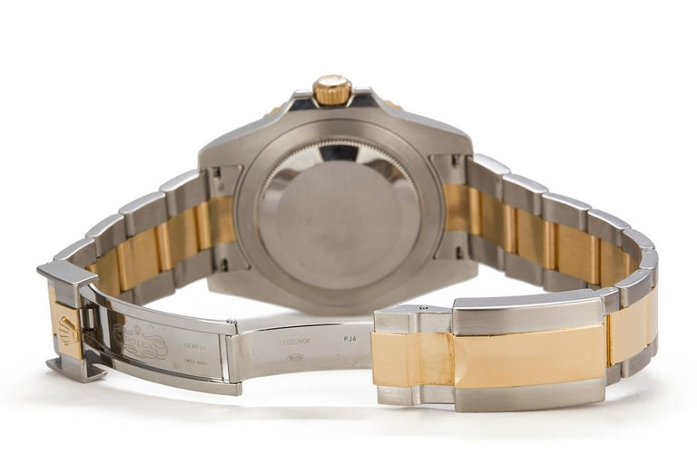 Men's Rolex 18 Karat Gold and Stainless Steel Ceramic GMT Master II 116710 For Sale
