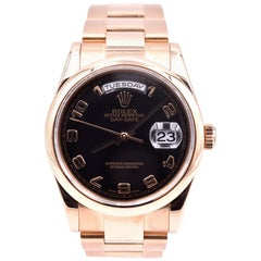 Rolex 18 Karat Rose Gold Day-Date Black Arabic Dial Watch Ref. 118205