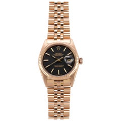 Rolex 18 Karat Rose Gold Oyster Perpetual Datejust Watch with Black Dial, 1970s