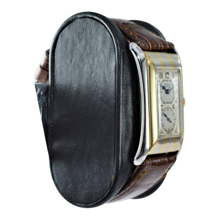 Women's or Men's Rolex 18K. Two-Tone Striped Prince with Original Kiln Fired Print Dial from 1935 For Sale