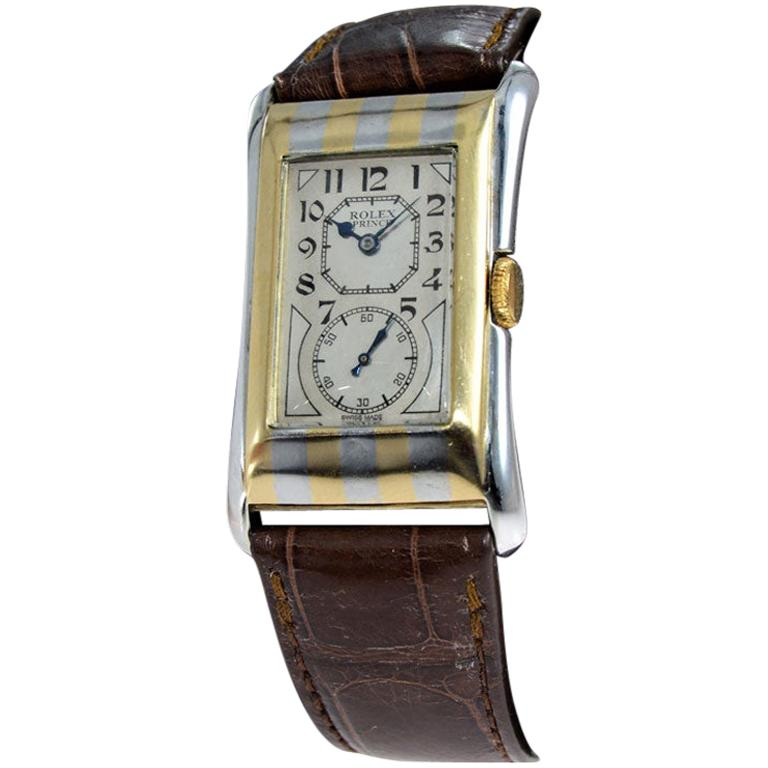 Rolex 18K. Two-Tone Striped Prince with Original Kiln Fired Print Dial from 1935 For Sale