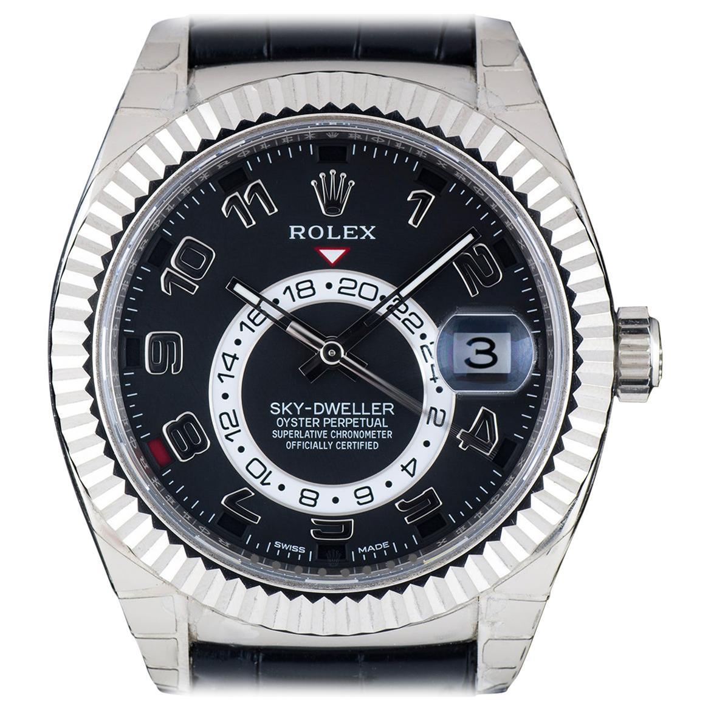 Rolex 18 Karat White Gold Black Dial Annual Calendar Sky-Dweller 326139 Watch