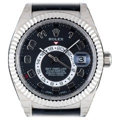 Rolex 18 Karat White Gold Black Dial Annual Calendar Sky-Dweller 326139 Watch