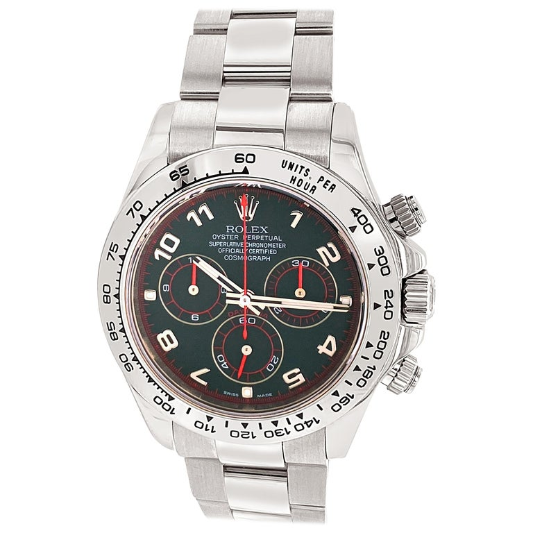 Rolex 18 Karat White Gold Cosmograph Daytona 40 Watch with Black Arabic Dial For Sale