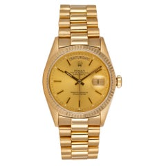 Rolex 18k Yellow Gold Day-Date President 18048 Box & Papers 2-Year Warranty