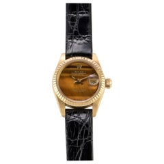 Rolex 18 Karat Yellow Gold Ladies Datejust Watch with Factory Tiger's Eye