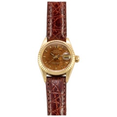Rolex 18 Karat Gold Ladies Datejust with Factory Birch Wood Dial and Papers