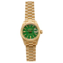 Rolex 18 Karat Gold Ladies Oyster Perpetual Datejust with Green Stella Dial