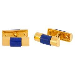 Rolex 18K Yellow Gold Lapis Lazuli Cufflinks