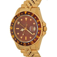 Rolex Yellow Gold GMT-Master II Bronze Dial Automatic Wristwatch Ref 16718