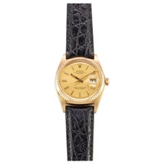 Rolex 18 Karat Gold Oyster Perpetual Datejust Watch with Marigold Dial, 1970s