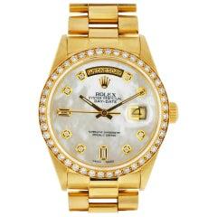 Rolex 18 Karat Yellow Gold Single Quick President Diamond Bezel Watch