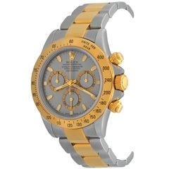 Rolex 18k Yellow Gold Stainless Steel Daytona Slate Dial Automatic Wrist Watch