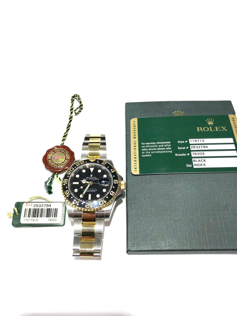 Modern Rolex 18 Karat and Stainless Steel GMT Master II with Black Ceramic Bezel For Sale