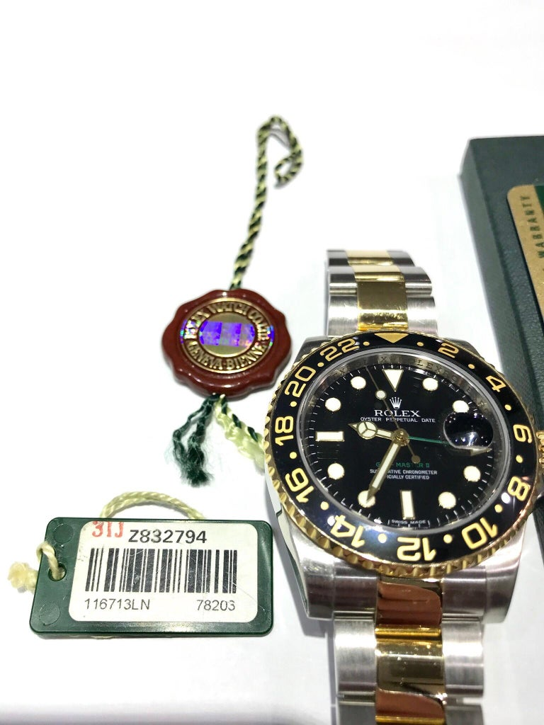 Women's or Men's Rolex 18 Karat and Stainless Steel GMT Master II with Black Ceramic Bezel For Sale